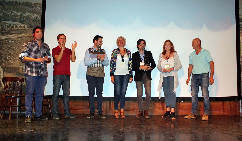 (De izq a der.) Juan Gabriel García, Juan Francisco Viruega, José Díaz, Pilar, Fernando y Maite Sancho y José María Rodríguez